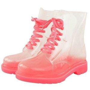 NEW Transparent Pink Combat Boots Doc Martin Style